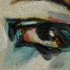 Analisi di pittura ad olio su tavola, tratto da una fotografia del 1920, di Marion Benda, su tavoletta di legno pressato.