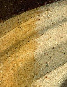Dipinto in fase di restauro, pulitura