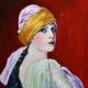 Fasi di realizzazione di un dipinto ad olio, tratto da una fotografia del 1923, di Tata Leonova, su tavoletta di legno pressato.